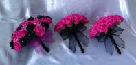 WEDDING FLOWERS ARTIFICIAL FOAM ROSE BOUQUETS BLACK HOT PINK BRIDE BRIDESMAID X3